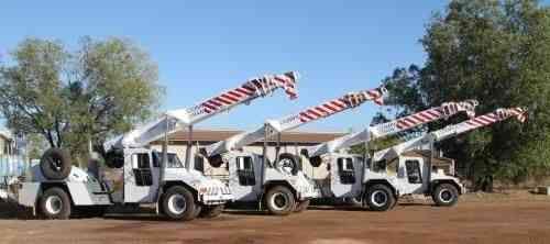 Fleet of crane trucks